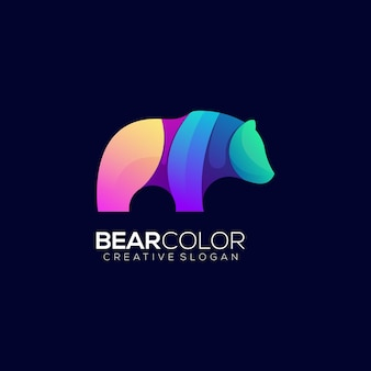Modèle de logo dégradé coloré ours