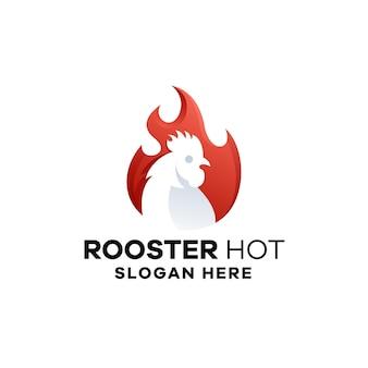 Modèle de logo dégradé de coq chaud