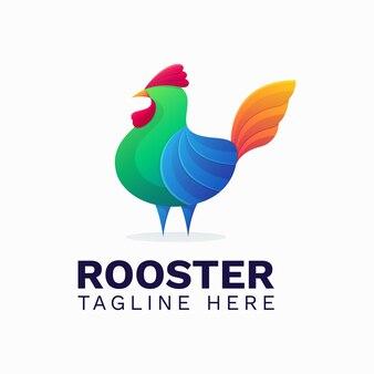 Modèle de logo dégradé coq coloré
