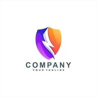 Modèle De Logo De Dégradé De Couleur De Bouclier Vecteur Premium