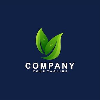 Modèle de logo de dégradé de couleur feuille verte