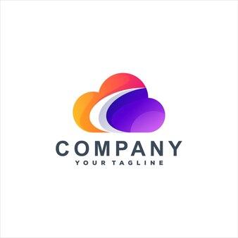 Modèle de logo dégradé de couleur nuage