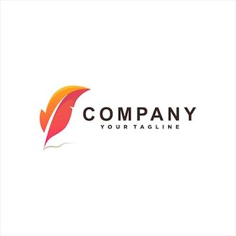 Modèle de logo dégradé de couleur plume