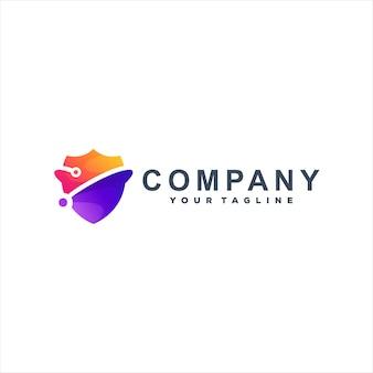 Modèle de logo dégradé de couleur tech