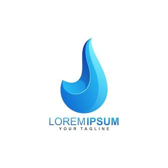 Modèle de logo dégradé eau goutte