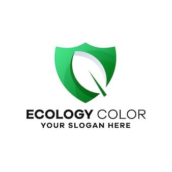 Modèle de logo de dégradé d'écologie de la défense