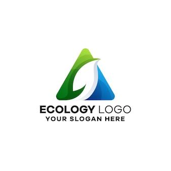 Modèle de logo de dégradé écologique
