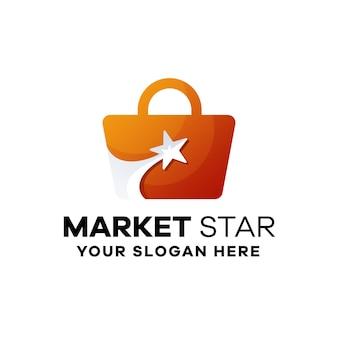 Modèle de logo dégradé étoile du marché