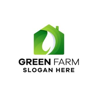 Modèle de logo de dégradé de ferme verte