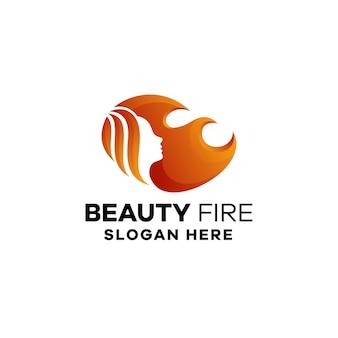 Modèle de logo dégradé de feu de beauté