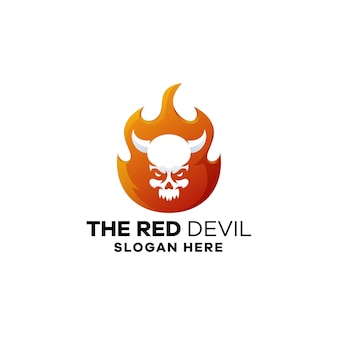 Modèle de logo dégradé feu diable