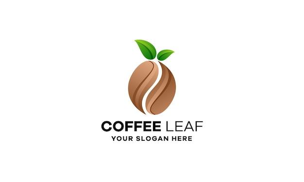 Modèle de logo de dégradé de feuille de café