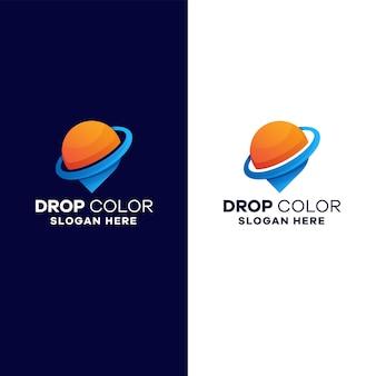 Modèle de logo de dégradé de goutte