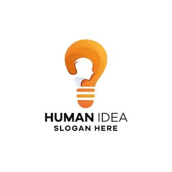 Modèle de logo de dégradé d'idée humaine