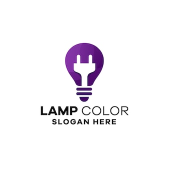Modèle de logo de dégradé d'idée de lampe