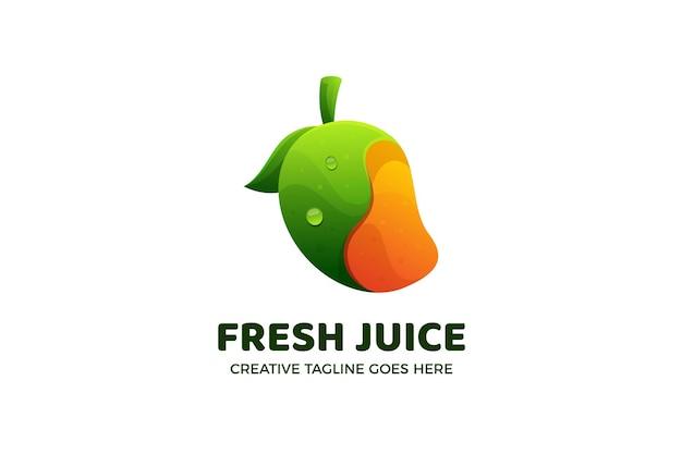 Modèle de logo dégradé de jus de fruits frais de mangue