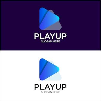 Modèle de logo de dégradé de lecture multimédia