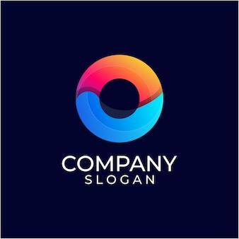 Modèle de logo dégradé lettre o cercle