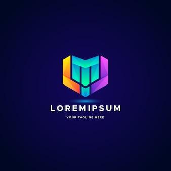 Modèle de logo dégradé logo lettre m