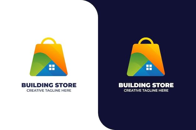 Modèle de logo de dégradé de magasin de construction de maisons