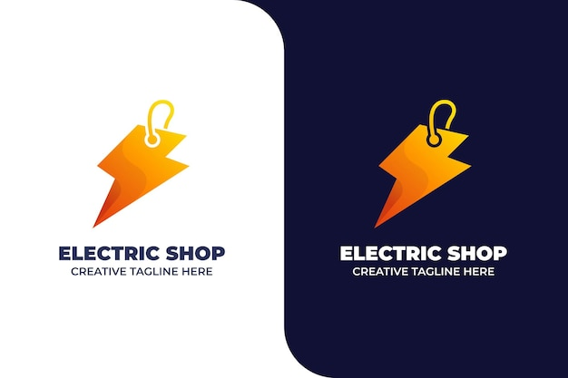 Modèle de logo de dégradé de magasin d'électricité