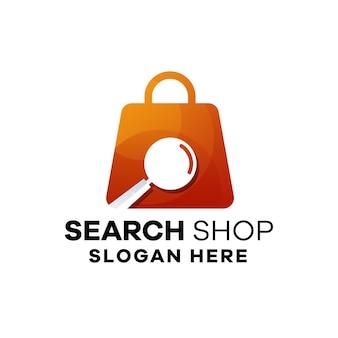 Modèle de logo de dégradé de magasin de recherche