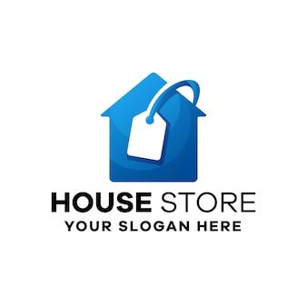 Modèle de logo de dégradé de maison de magasin
