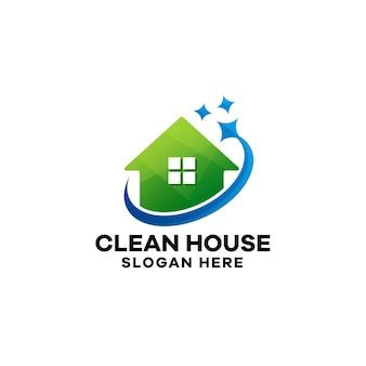 Modèle de logo de dégradé de maison propre