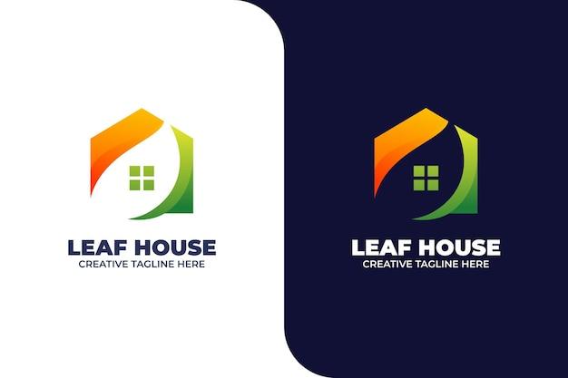 Modèle de logo dégradé de la maison verte de la nature
