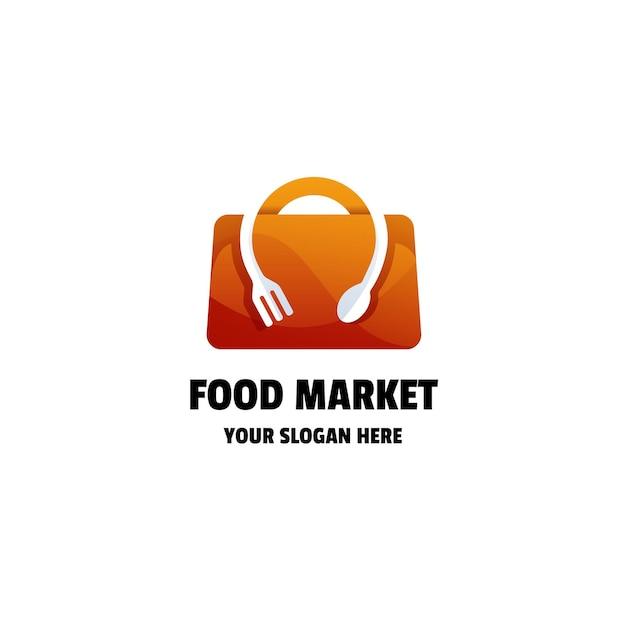 Modèle de logo de dégradé de marché alimentaire ou de magasin