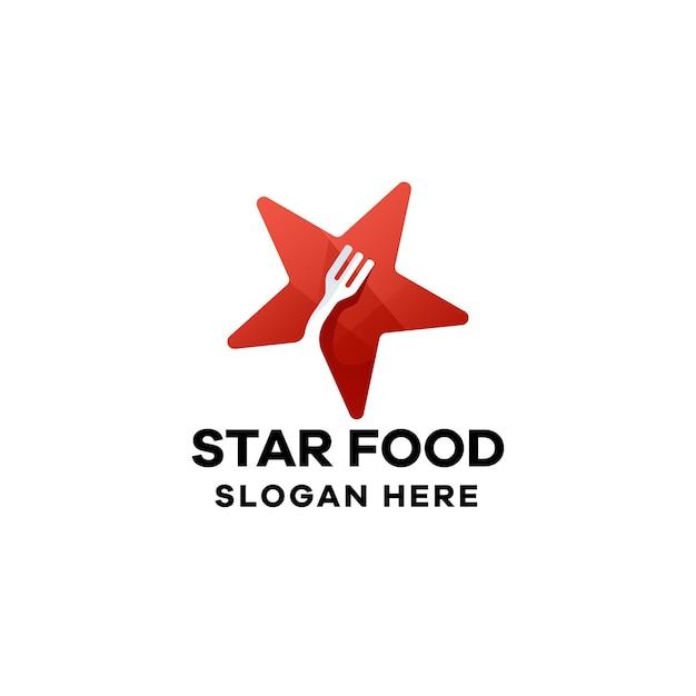 Modèle de logo de dégradé de nourriture en étoile