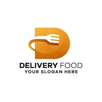 Modèle de logo de dégradé de nourriture de livraison