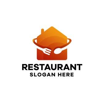 Modèle de logo de dégradé de nourriture de restaurant