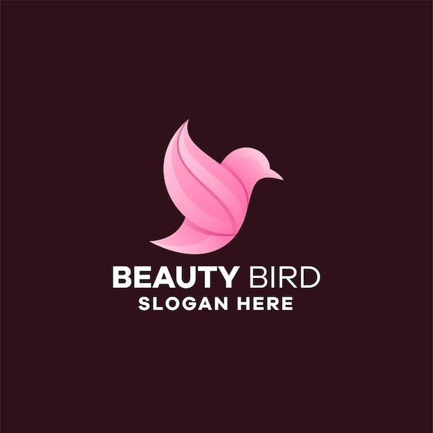 Modèle de logo dégradé d'oiseau de beauté