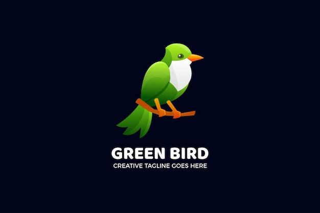 Modèle de logo dégradé oiseau vert