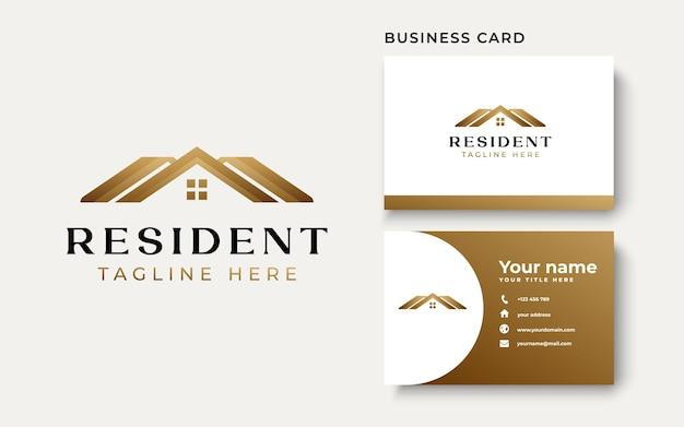 Modèle de logo de dégradé d'or de maison de toit isolé sur fond blanc. illustration vectorielle