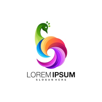 Modèle de logo dégradé de paon