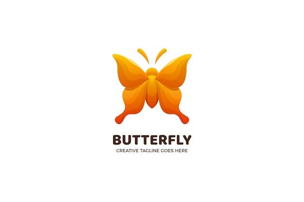 Modèle de logo dégradé papillon jaune