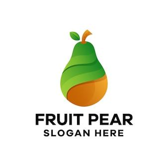 Modèle de logo de dégradé de poire aux fruits