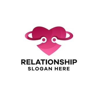 Modèle de logo de dégradé de relation