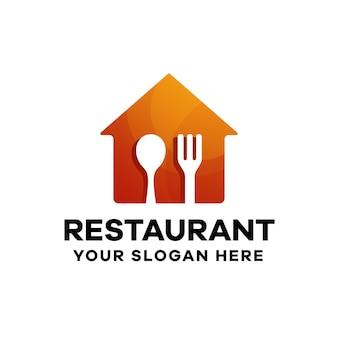 Modèle de logo de dégradé de restaurant