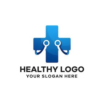 Modèle de logo de dégradé sain