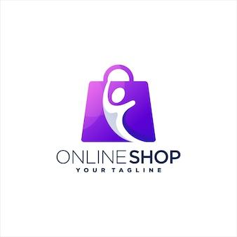 Modèle de logo dégradé shopping
