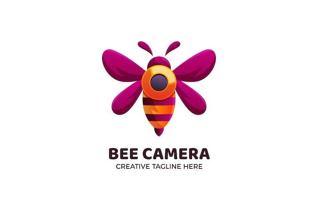 Modèle de logo dégradé de technologie de caméra abeille