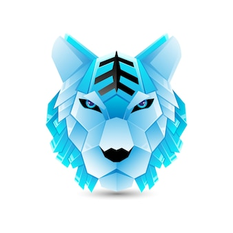 Modèle de logo en dégradé de tigre en origami