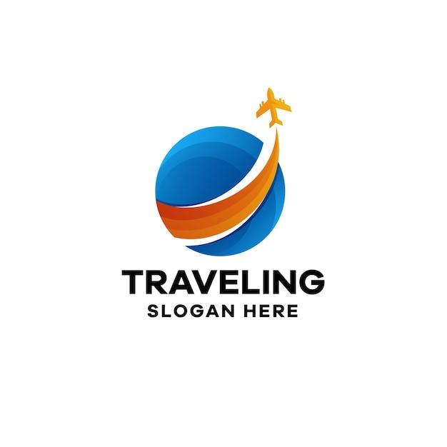 Modèle de logo de dégradé de voyage