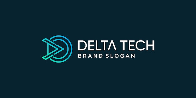 Modèle de logo delta tech pour la marque de l'entreprise