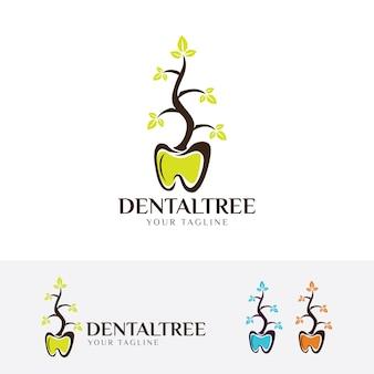 Modèle de logo dentaire à base de plantes