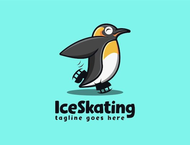 Modèle de logo de dessin animé amusant pingouin patinage mascotte
