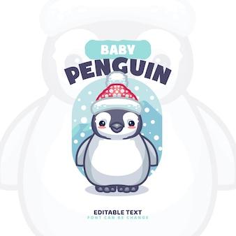 Modèle de logo de dessin animé bébé pingouin